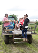 Hayrack wagon ride for bison photo shoot